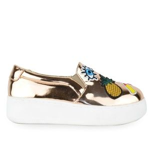 Women's Gold Slip On Sneakers with Patches Detail